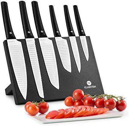 KLARSTEIN Kashira Juego de Cuchillos - Portacuchillos, Cuchillos de Cocina Hojas Muy afiladas, 6 Tamaños, Diseño japonés, Antiadherente, Blanco