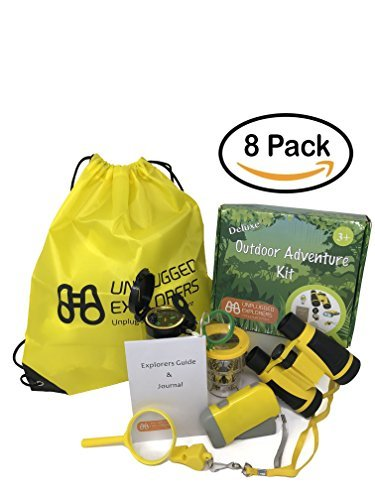 Unplugged Explorers 9 Piece Outdoor Toys Kids Adventure Kit - Purple or Yellow Backpack, Binoculars, Flashlight, Compass, Bug Collector, Whistle, Magnifying Glass - Kids Outdoor Boy Girl STEM Gift]()