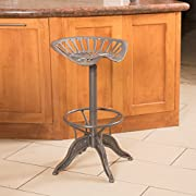 Drew Industrial Metal Design Adjustable Height Swivel Tractor Seat Barstool