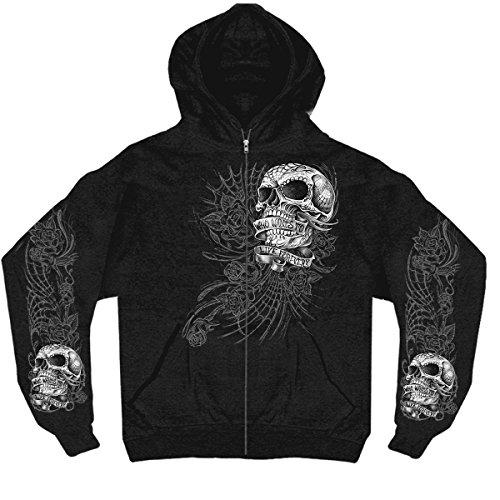 Hot Leathers Men's Sweet Demise Zip Up Hooded Sweat Shirt (Black, XX-Large) ()
