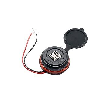 MASO - Toma de Corriente para Coche, Resistente al Agua, Doble Puerto, Cargador USB para Motocicleta, Enchufe Adaptador de Enchufe de alimentación CC ...