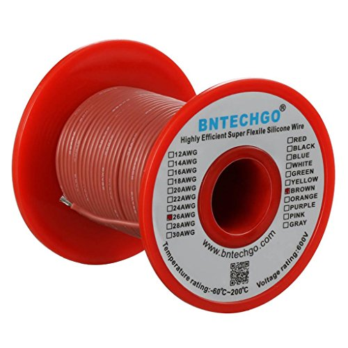 Brown Wire 100ft Spool - BNTECHGO 26 Gauge Silicone Wire Spool Brown 100 feet Ultra Flexible High Temp 200 deg C 600V 26 AWG Silicone Rubber Wire 30 Strands of Tinned Copper Wire Stranded Wire for Model Low Impedance