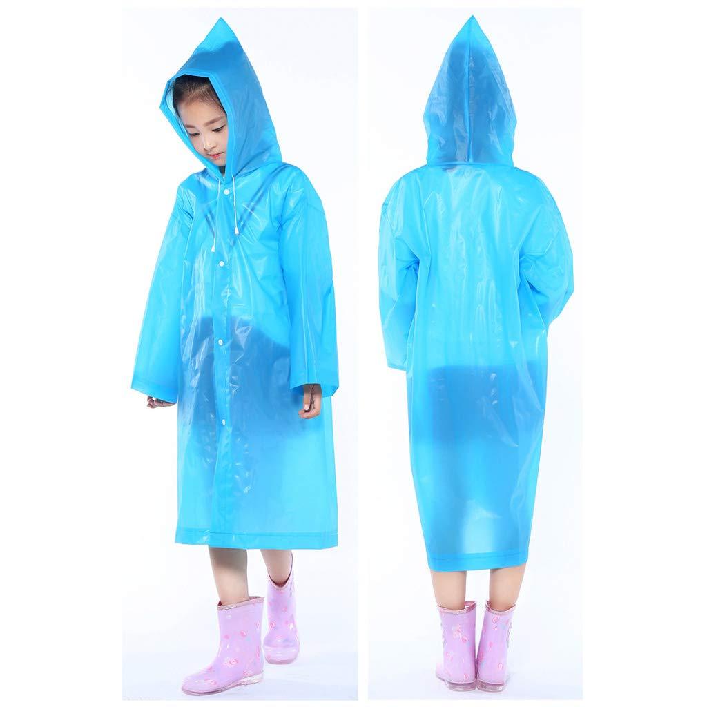 Rain Ponchos 2Pack,Children Raincoat Waterproof Thicker EVA Portable Reusable Boys Girls Ages 8-16 Oversize Yellow /& Blue