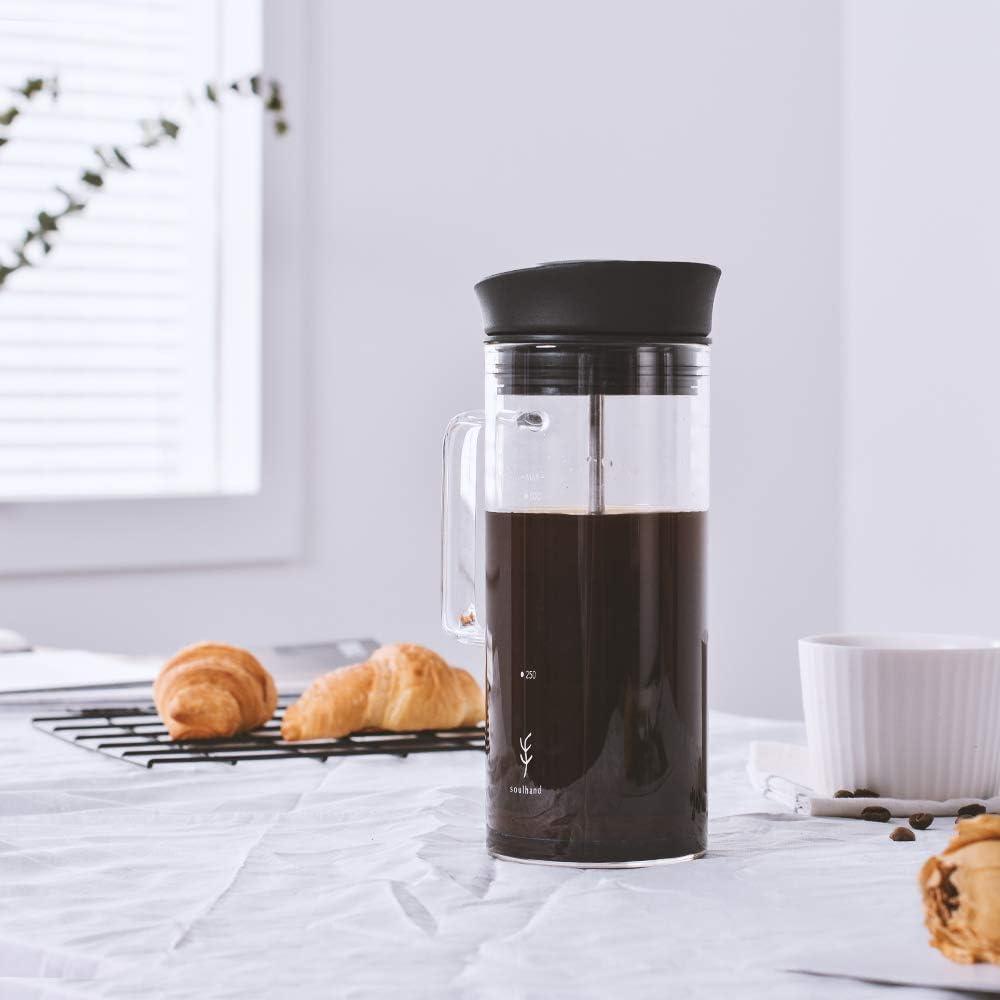 ufficio in borosilicato per caff/è e t/è 100/% nessun caff/è Soulhand campeggio caffettiera francese con microfiltro resistente al calore durevole 500 ml viaggi perfetta per casa