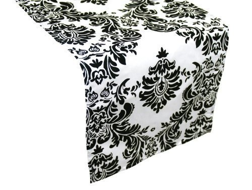 BalsaCircle Flocking Taffeta Table Top Damask Runners, 12