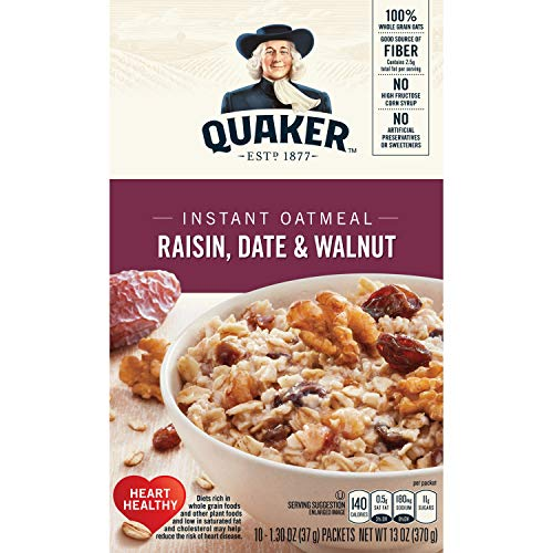 (Quaker Instant Oatmeal, Raisin, Date & Walnut, Breakfast Cereal, 10 Packets)