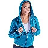Leehanton Women's Plus Size Full Zip Soft Sherpa-Lined Fleece Hoodie Blue 1XL