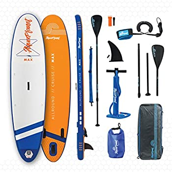 Image of aquaplanet 10ft 6' x 15cm MAX Stand Up Paddle Board kit. Air Pump with Pressure Gauge,Adjustable Aluminium Floating Paddle, Repair Kit,Heavy Duty Rucksack,Premium Leash & 4 Kayak Seat Rings Stand-Up Paddleboards