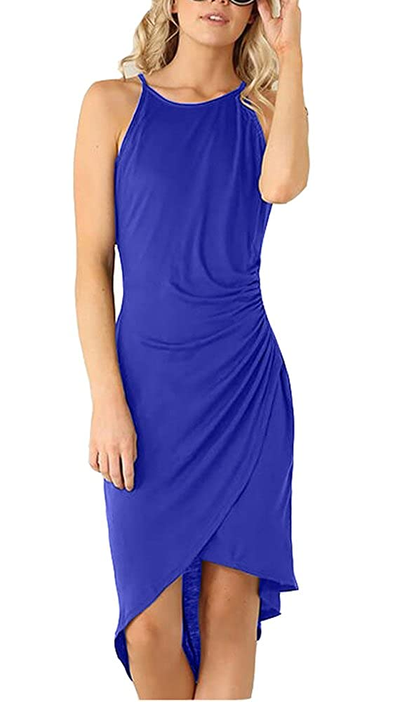 bluee Eliacher Women's Casual Spaghetti Strap Summer Dress Bodycon Midi Party Sleeveless Dresses