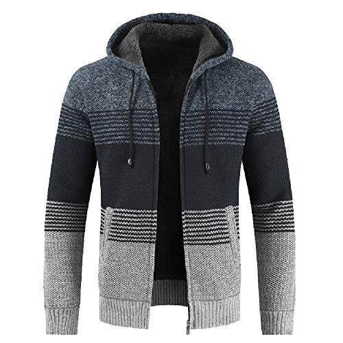 CUCUHAM Men's Autumn Winter Packwork Hooded Zipper Jacket Knit Cardigan Long Sleeve Coat(Blue,Medium) -