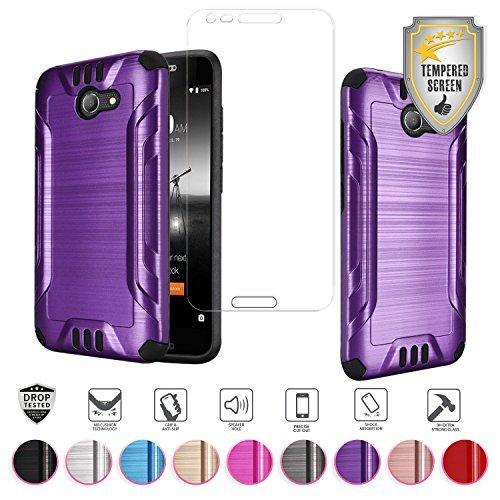 Alcatel Zip LTE Case, Alcatel A577VL A576BL Case, Alcatel Kora Case, with Tempered Glass Screen Protector, Metallic Brushed Design Dual Layer Hybrid [Shockproof] TPU Hard Cover (Purple)