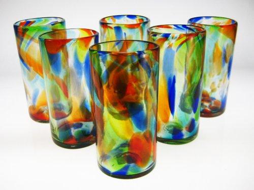 Mexican Glass Confetti Swirl Tumblers 20 Oz Set of 6