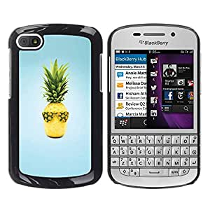Be Good Phone Accessory // Dura Cáscara cubierta Protectora Caso Carcasa Funda de Protección para BlackBerry Q10 // Fruit Design Cool Pineapple