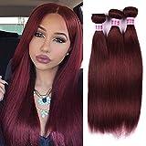 Top Hair 7a Peruvian Straight Hair Weaves 3pcs/lot 20 22 24 inch (Purplish Red #99j) Virgin Remy Human Hair Bundles 20 22 24 (Purplish Red #99j)
