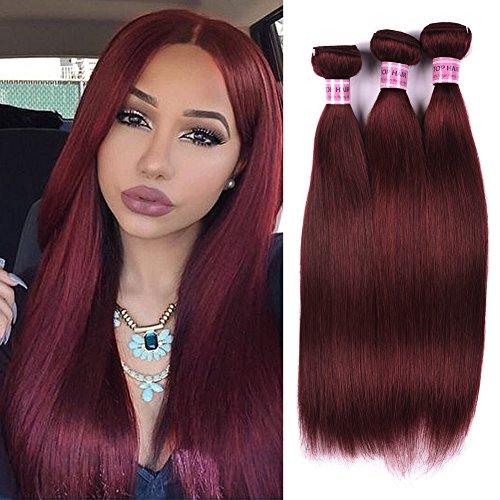 Top Hair 7a Peruvian Straight Hair Weaves 3pcs/lot 20 22 24 inch (Purplish Red #99j) Virgin Remy Human Hair Bundles 20 22 24 (Purplish Red #99j) by Top Hair
