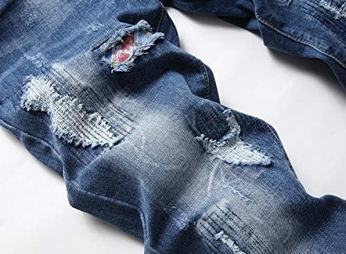 51kgBRhnfCL. AC AITITIA Men's Biker Zipper Deco Washed Straight Fit Jeans    Product Description