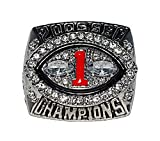 UNIVERSITY OF GEORGIA BULLDOGS (D.J. Shockley) 2006 SEC NATIONAL CHAMPIONS (Vs. LSU Tigers) Rare & Collectible Replica NCAA College Football Silver Championship Ring with Cherrywood Display Box