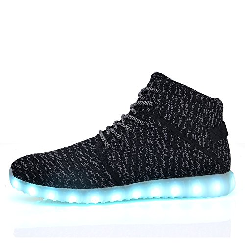 655344bd095 DEMANGO Led Light Up Shoes for Mens Womens High Top Flashing Rechargeable  Sneakers