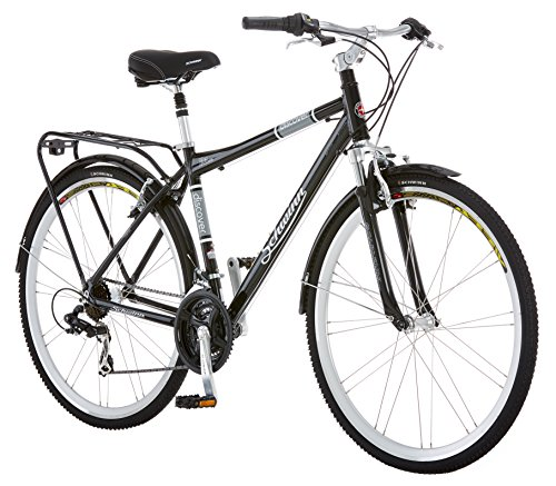 Schwinn Discover Hybrid Bike, Featuring 18-Inch/Medium Aluminum Step-Over Frame, 21-Speed Drivetrain, Front and Rear Fenders, Rear Cargo Rack, and Kick-Stand, with 700c/28-Inch Wheels, Black (Bicycle)