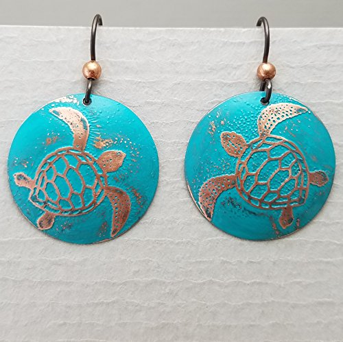 Etched Copper Sea Turtle Earrings