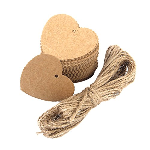 OULII 100pcs Kraft Paper Cards Gift Favor Tags for Wedding Christmas Party Supplies with Jute Twine, Heart Shaped, Brown