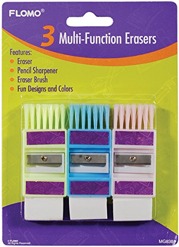 3 pack Multi-Function Sharpeners and Erasers 48 pcs sku# 1916175MA by FLOMO (Image #1)