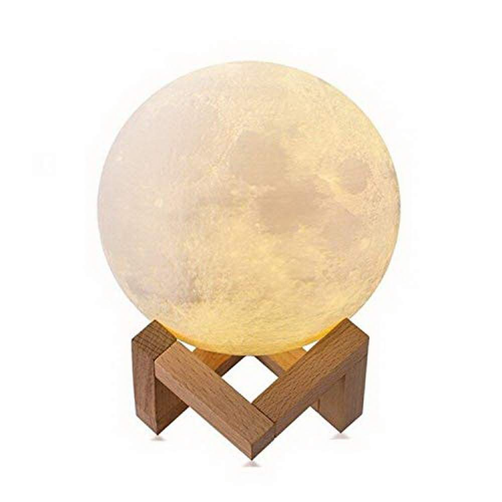 Moon Lamp, 3D Printed Light, Touch Control, Stepless Dimmable, Warm White Cool White, PLA Material, USB Recharge, 3.9''/10Centimeter Diameters