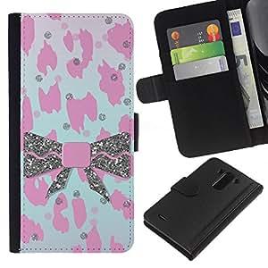 BearCase / Cuero de la tarjeta la carpeta del tirón Smartphone Slots Protección Holder /// LG G3 /// Patrón de piel rosado del leopardo de Bowtie