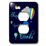 3dRose Alexis Design - Hot Air Balloon - Hot air balloons, clouds, sun, Find me beyond the clouds on blue - Light Switch Covers - 2 plug outlet cover (lsp_272466_6)