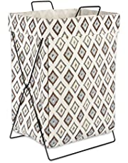 """DII X Frame Collapsible Heavy Duty Fabric Laundry Bin Perfect In Your Bedroom, Nursey, Dorm, Closet, Laundry Room, 15"""" - Neutral Ikat Diamond"""