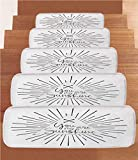 iPrint Non-Slip Carpets Stair Treads,Quote,Minimalist Monochromatic Tribal Boho Style Rays Lines and Interlace Arrows,Charcoal Grey White,(Set of 5) 8.6''x27.5''