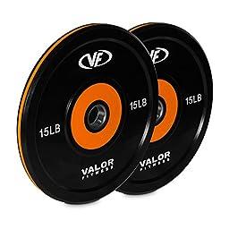 Valor Fitness BPP-15 10Lb Bumper Plate Pro (2), 30 lb