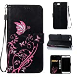 iPhone 7 Plus Case, CUSKING Wallet Case Butterfly Flower Pattern Kickstand Shockproof Cover