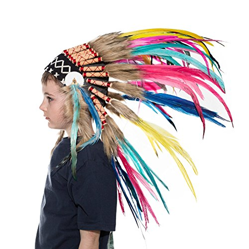 Novum Crafts Kids Feather Headdress | Native American Indian Inspired | (Indian Chief Headdress For Sale)