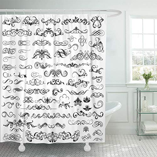 Emvency Shower Curtain Flower Calligraphic of Graphic Border Certificate Ornate Page Typographic Shower Curtains Sets with Hooks 72 x 72 Inches Waterproof Polyester Fabric ()