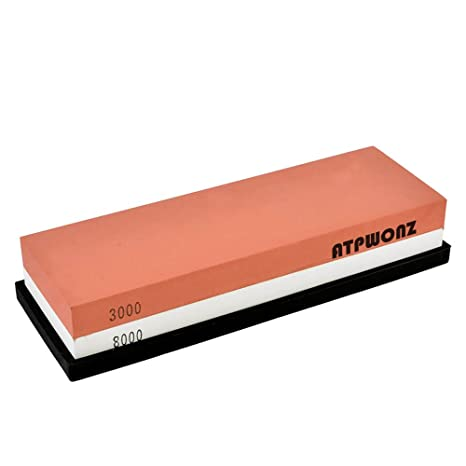 ATPWONZ Piedra de Afilar 3000/8000 Doble Cara de Cuchillos Grit Corindón Combinación con Soporte de Silicona Antideslizante