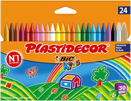 BIC Kids Plastidecor- Blíster de 24 unidades, ceras para colorear, colores surtidos: Amazon.es: Oficina y papelería