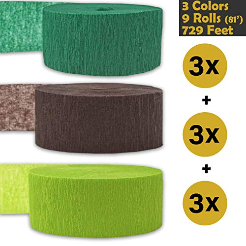 Crepe Party Streamers, 9 rolls, 3 Colors, 739 ft - Forest Green + Brown + Lime Green - 243' per color (3 rolls per color, 81 foot each roll) - For party Decorations and Crafts - Flame Resistant, Bleed Resistant, Made in USA]()