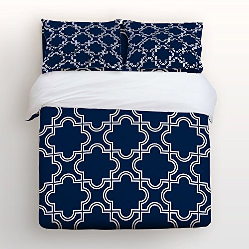 - Moroccan Trellis,Navy Print Home Comforter Bedding Sets Duvet Cover Sets Bedspread,Flat Sheet, Shams Set 4Pieces,(King) for Adult Kids girls