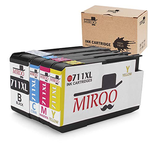 MIROO High Yield Compatible Ink Cartridge Replacement for HP 711 711XL ink Cartridge 4 Pack Worked with HP Designjet T120 T520 Printer by MIROO