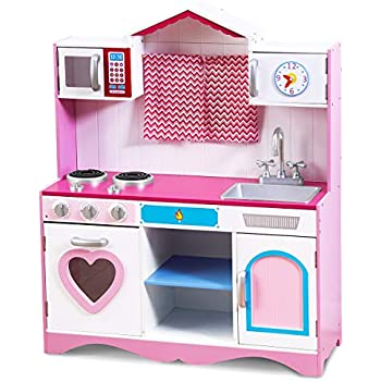 Costzon Play Kitchen Set, Wooden Toy Kitchen for Chef's Pretend Cooking Play, Toddler Kitchen w/ Four Locker, Mini Simulation Faucet, Washing Pool, for Kids, Girls (39.5'' Height, Pink)