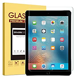New iPad 9.7″ (2018 & 2017) / iPad Pro 9.7 / iPad Air 2 / iPad Air Screen Protector, SPARIN Tempered Glass Screen Protector – Apple Pencil Compatible/High Definition/Scratch Resistant