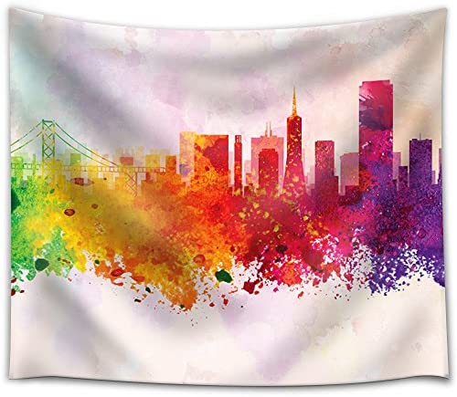 Colorful Rainbow Splattered Paint on The City of San Francisco with The Golden Gate