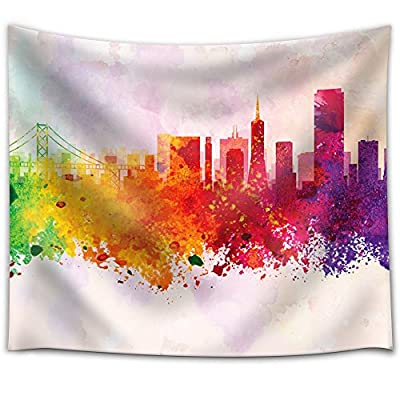 Fascinating Craft, Created By a Professional Artist, Colorful Rainbow Splattered Paint on The City of San Francisco with The Golden Gate