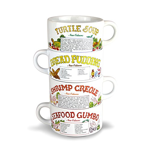 Recipe Gumbo Bowl Set of 4 -Turtle Soup, Shrimp Creole, Seafood Gumbo, Bread Pudding