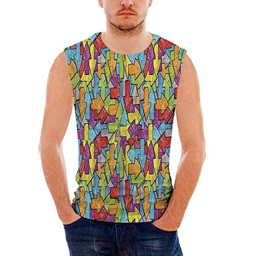 Mens Arrow Decor Tank Top Sleeveless Tees All Over Print Casual T- Shirts,Arrows