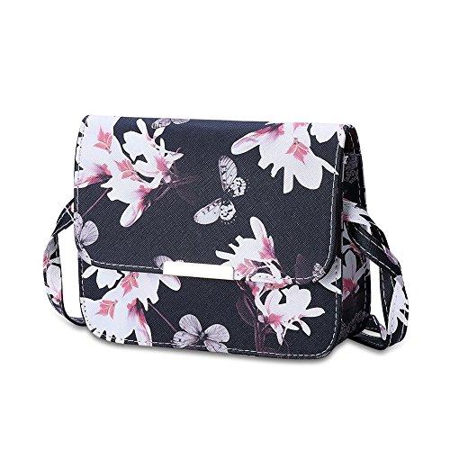 Women PU Leather Floral Print Shoulder Bag (Black) - 4