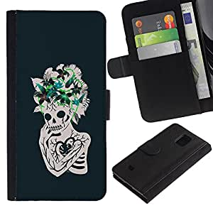 iKiki Tech / Cartera Funda Carcasa - Floral Heart Skull Skeleton Flowers - Samsung Galaxy S5 Mini, SM-G800, NOT S5 REGULAR!