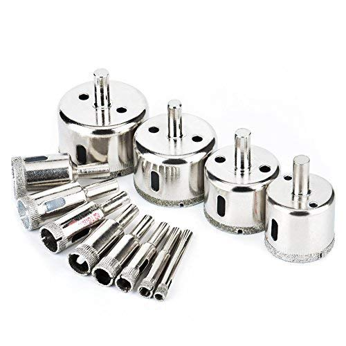 Glass Drill Bit 12 Pcs,Diamond Tile Hole Saw Coated Core Remover Tool for Granite,Ceramic and Porcelain