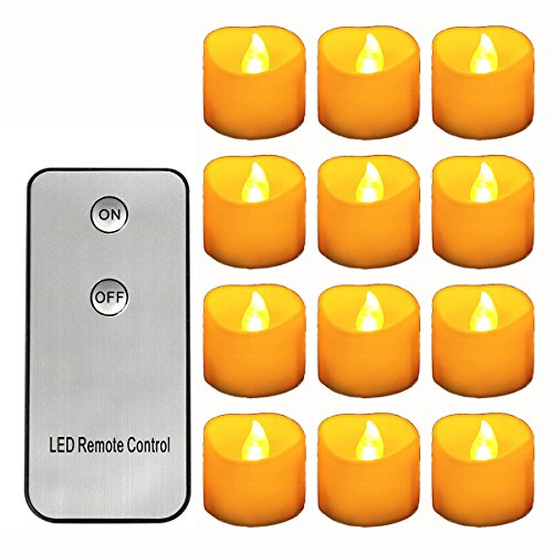Horeset 12pcs Yellow Flickering LED with Remote Control T...